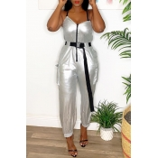 Lovely Trendy Zipper Design Silver One-piece Jumps