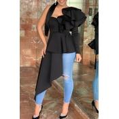 Lovely Trendy One Shoulder Flounce Design Black Bl