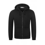Lovely Casual Hooded Collar Zipper Design Black Ho