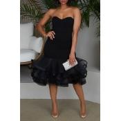 Lovely Sweet Sleeveless Flounce Design Black Knee