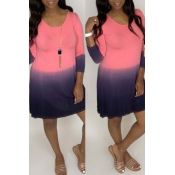 Lovely Casual Color-lump Patchwork Light Pink Mini
