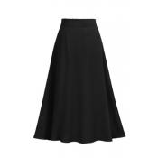Lovely Casual High Waist Black Mid Calf Skirt