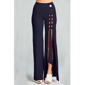 Lovely Trendy Asymmetrical Hollow-out Black Pants