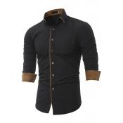 Lovely Casual Turndown Collar Buttons Design Black Shirt