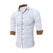 Lovely Casual Turndown Collar Buttons Design White