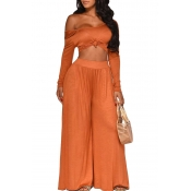 Lovely Leisure Crop Top Loose Jacinth Two-piece Pa