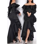 Lovely Sweet Off The Shoulder Flounce Design Black