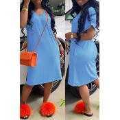 Lovely Casual Loose Straight Blue Knee Length Dres