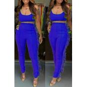 Lovely Casual U Neck Tassel Design Royal Blue Two-piece Pants Set