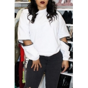 Lovely Casual Hollow-out White Sweatshirt Hoodies