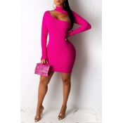 Lovely Stylish Hollow-out Rose Red Mini Dress