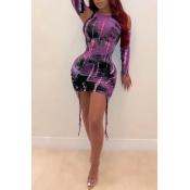 Lovely Casual Tie-dye Purple Mini Dress(With Ragla