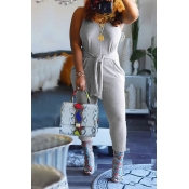 Lovely Work Knot Design Light Grey One-Piece Jumps