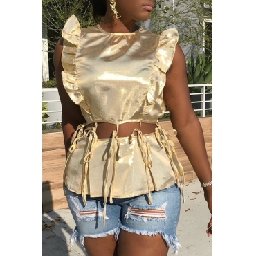 Lovely Sexy O Neck Lace-up Hollow-out Gold Blouse