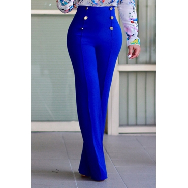 Lovely Stylish High Waist Double-breasted Design Blue Polyester Pants