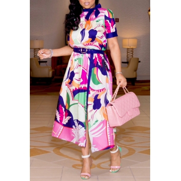 Lovely Stylish O Neck Printed Multicolor Ankle Length OL Dress