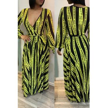 Lovely Casual V Neck Letter Printed Green Floor Length OL Dress