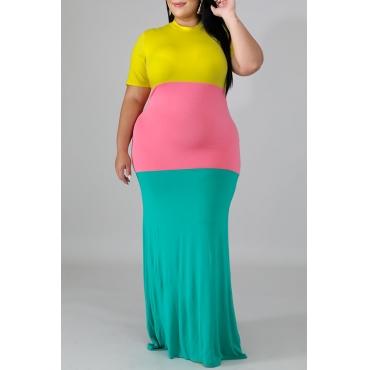 Lovely Bohemian O Neck Patchwork Multicolor Floor Length A Line Plus Size Dress