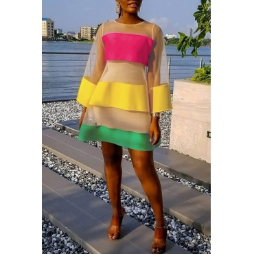 Lovely Casual O Neck Gauze Striped Patchwork Multicolor Mini A Line Dress