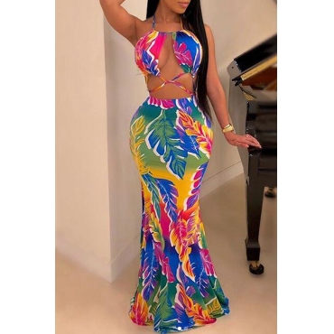 Lovely Sexy Spaghetti Straps Printed Backless Multicolor Floor Length Trumpet Mermaid Dress