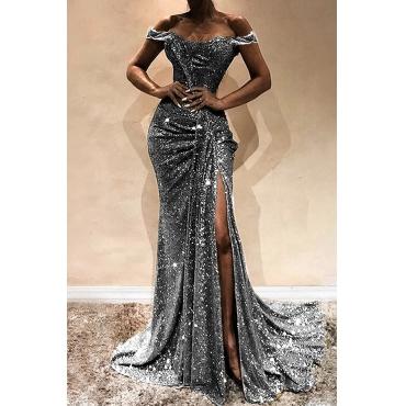 Lovely Elegant Off The Shoulder Sequins Decoration Silver Floor Length Prom Dress