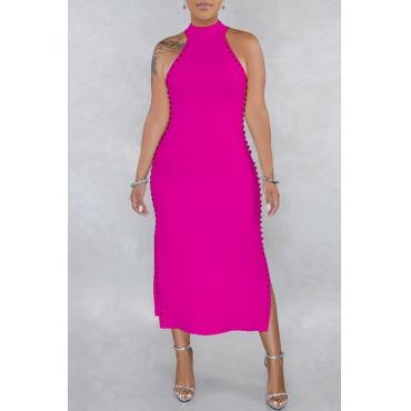 Lovely Stylish O Neck Rivet Decoration Rose Red Mid Calf OL Dress