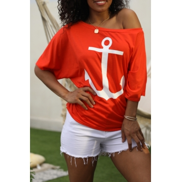 Lovely Casual Off The Shoulder Printed Red T-shirt