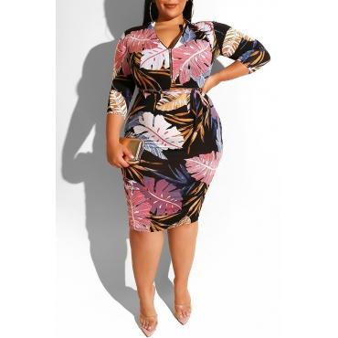 Lovely Bohemian V Neck Printed Multicolor Knee Length Plus Size Dress