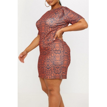 Lovely Casual O Neck Snakeskin Pattern Printed Brown Mini Plus Size Dress