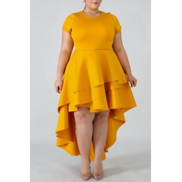 Lovely Stylish O Neck Asymmetrical Yellow Knee Length Cake Plus Size Dress