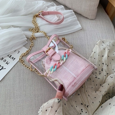 Lovely Leisure See-through Light Pink PVC Crossbody Bag