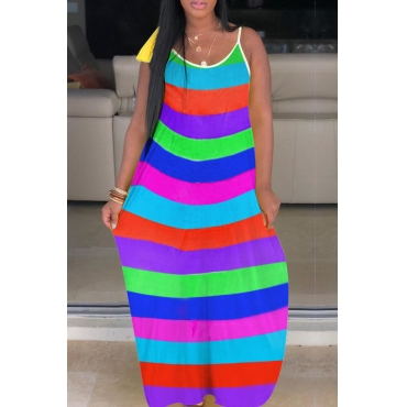 Lovely Casual Spaghetti Straps Striped Blue Ankle Length A Line Dress