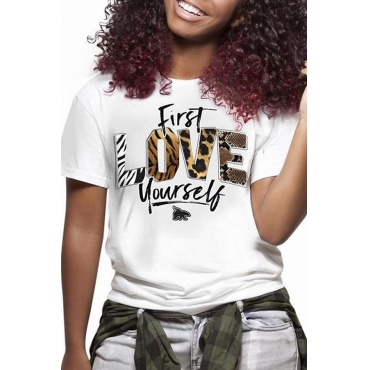 Lovely Casual O Neck Letter Printed White T-shirt