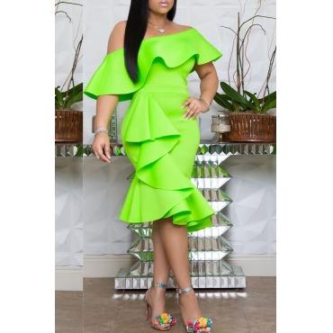 Lovely Stylish Off The Shoulder Ruffle Design Green Knee Length OL Dress