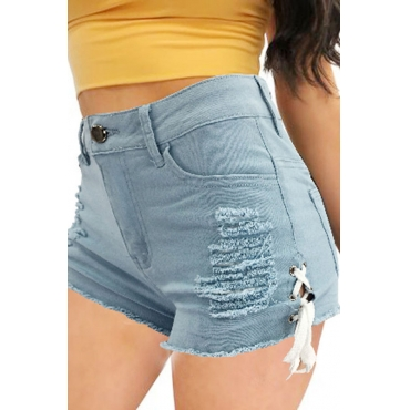 Lovely Casual Broken Holes Hollow-out Baby Blue Denim Shorts