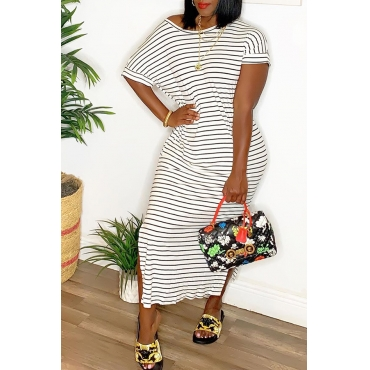 Lovely Casual O Neck Striped White Mid Calf A Line Dress