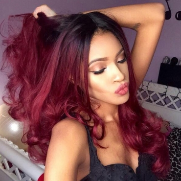 Lovely Stylish Hign-temperature Resistance Wine Red Wavy Curls