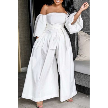Lovely Stylish Off The Shoulder White One-piece Jumpsuit