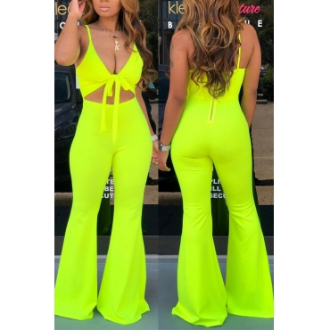 Lovely Sexy Spaghetti Straps Hollow-out Green One-piece Jumpsuit