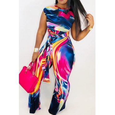 Lovely Casual Print Loose Multicolor Two-piece Pants Set