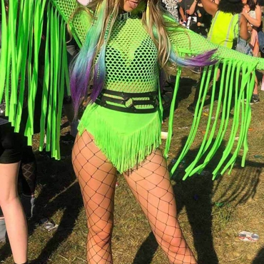 Lovely Sexy Hollow-out Tassel Design Green Bodysuit(Without Belt)