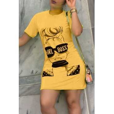 Lovely Casual O Neck Printed Yellow Mini Dress