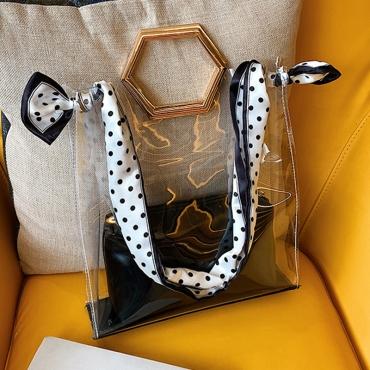 Lovely Casual Dot Printed See-through Black Crossbody Bag