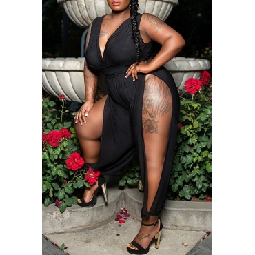 Lovely Sexy V Neck Hollow-out Black Plus Size One-piece Jumpsuit