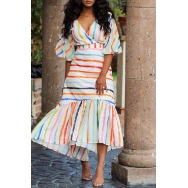 Lovely Bohemian V Neck Striped Multicolor Ankle Length Dress