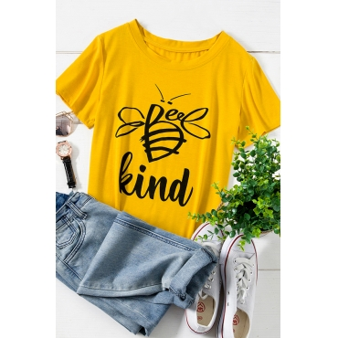 Lovely Casual O Neck Letter Printed Yellow Plus Size T-shirt