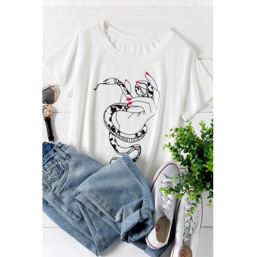 Lovely Casual O Neck Printed White Plus Size T-shirt
