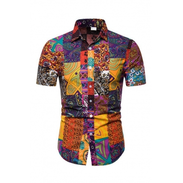 Lovely Casual Turndown  Short Sleeve Printed Multicolor Shirt
