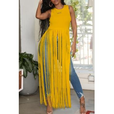 Lovely Chic Tassel Design Yellow Blouse