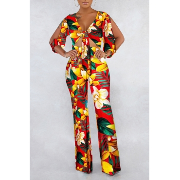 Lovely Sexy V Neck Printed Hollow-out Yellow One-piece Jumpsuit